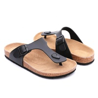 Ningbo 2019 factory directly sale cork foot-bed leather shoes Sandals for Men