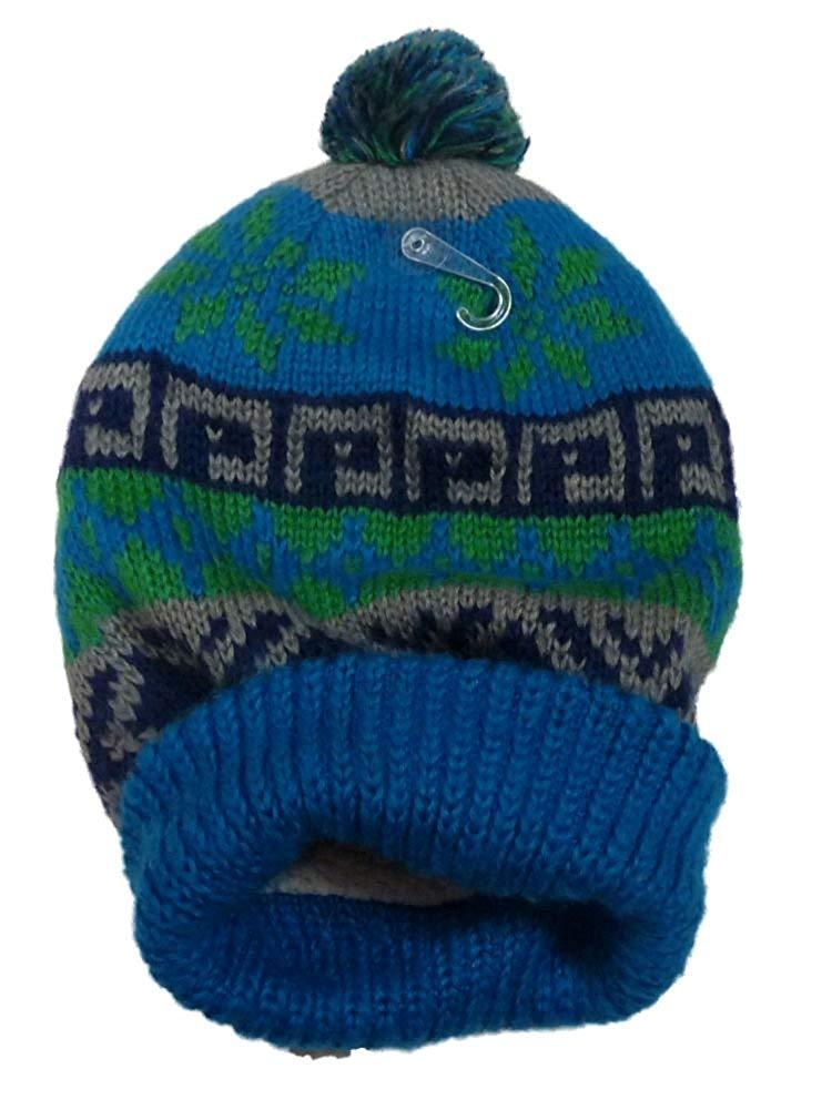 816e864e8a44d4 Get Quotations · S0 Womens Blue Pom Pom Beanie Sherpa Lined Stocking Cap Hat