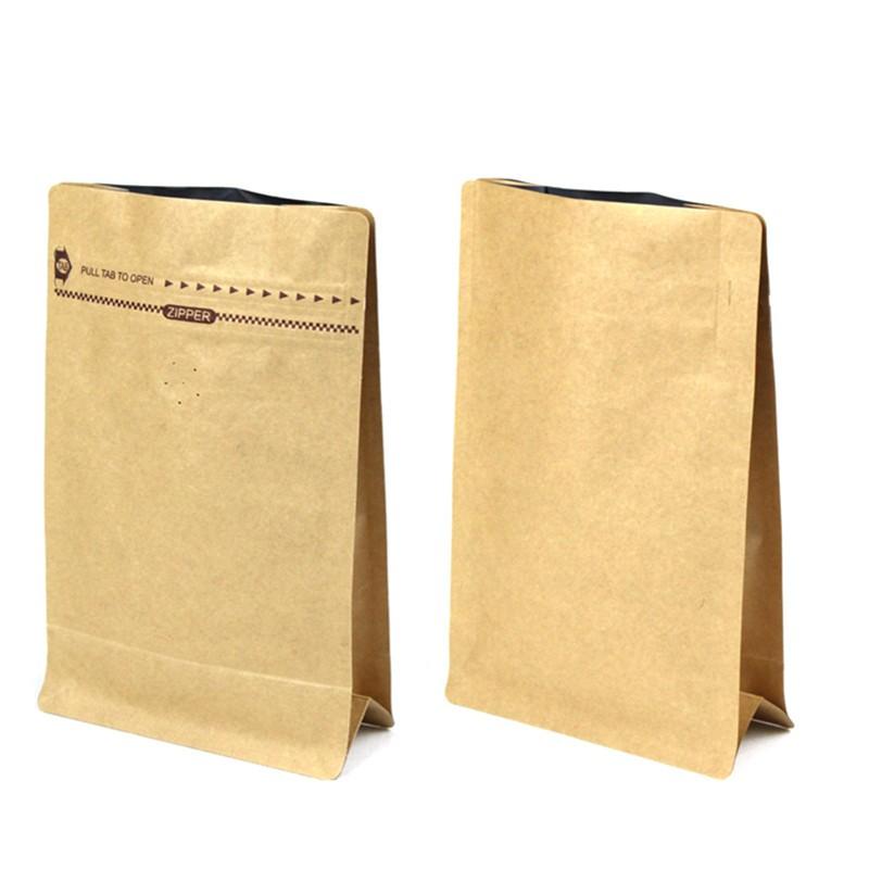250g 500g Resealable Paper Bag Empty Tea Kraft Coffee With Ziplock