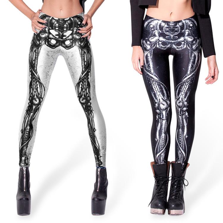 1d681294395fc Get Quotations · 2015 Hot Sales Women Leggings Sport 3D Printed Punk Rock  Skeleton Leggings High Elastic Calzas Deportivas