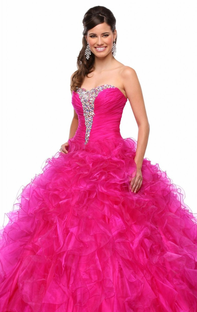 dc53a61d7b5 Get Quotations · 2015 New Arrival Hot Pink Fuchsia Dress For 15 Years Beaded  Top Organza Ruffled Ball Gown