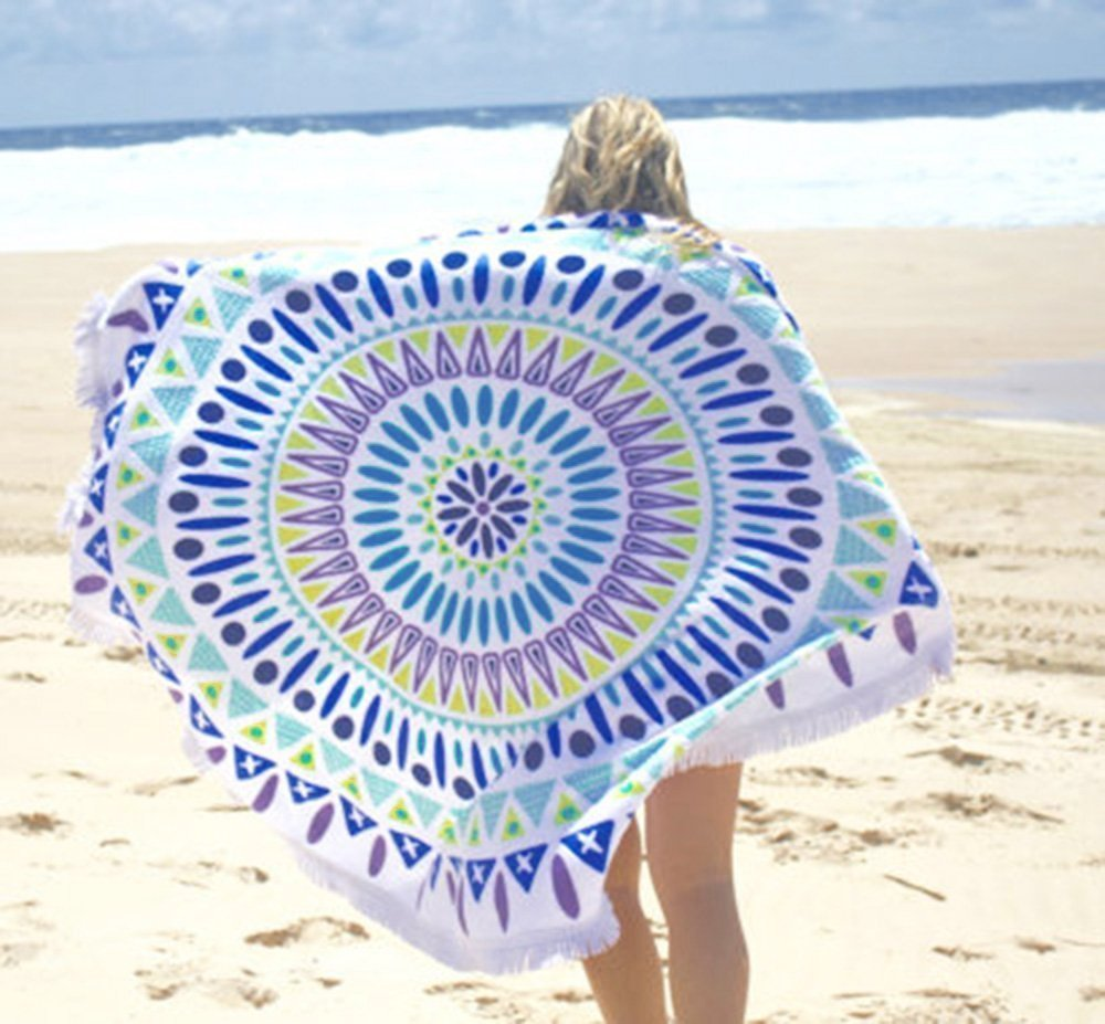 Round Tapestry Mandala ,Circle Beach Tapestry Tassels Towel Wall hanging Hippie Boho Gypsy Cotton Tablecloth Beach Towel , Round Yoga Mat,Table Cloth Hippy Hippie Boho Gypsy Beach Towel (Blue)