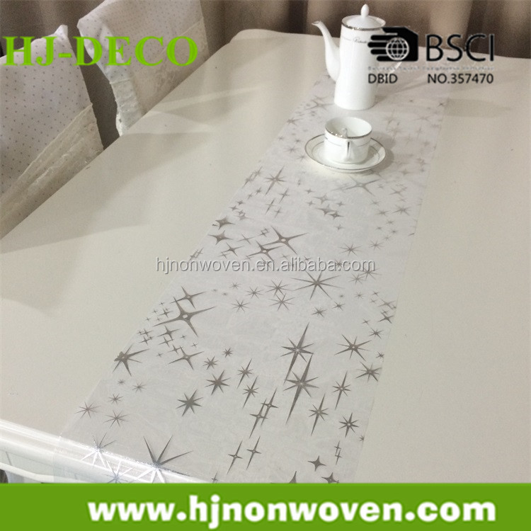 white with silver star pattern wedding stock organza table overlay