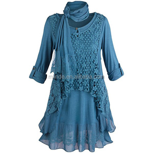 Viscose Layer Style Lace Tunic Set,Wholesale 2 Pieces Shirt And Vest ,Women Tunic Roll-Tab Sleeve Tunic With Gauzy Scarf