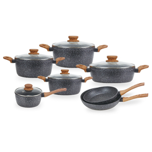 marble granite wooden touch cookware set casserole pot sauce pan frying pan set