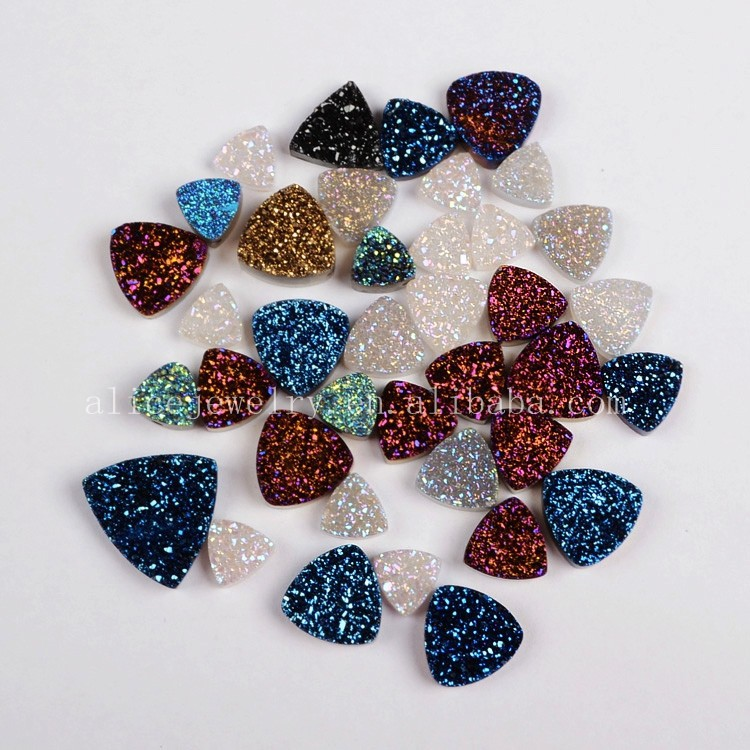 Wholesale druzy quartz loose gemstone cabochon, natural flat druzy stone beads