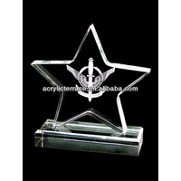 Five-pointed star shaped acrylic award