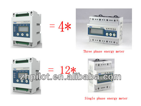 PILOT PMAC201HW 12 channel 3 phase 4 wire energy meter connection