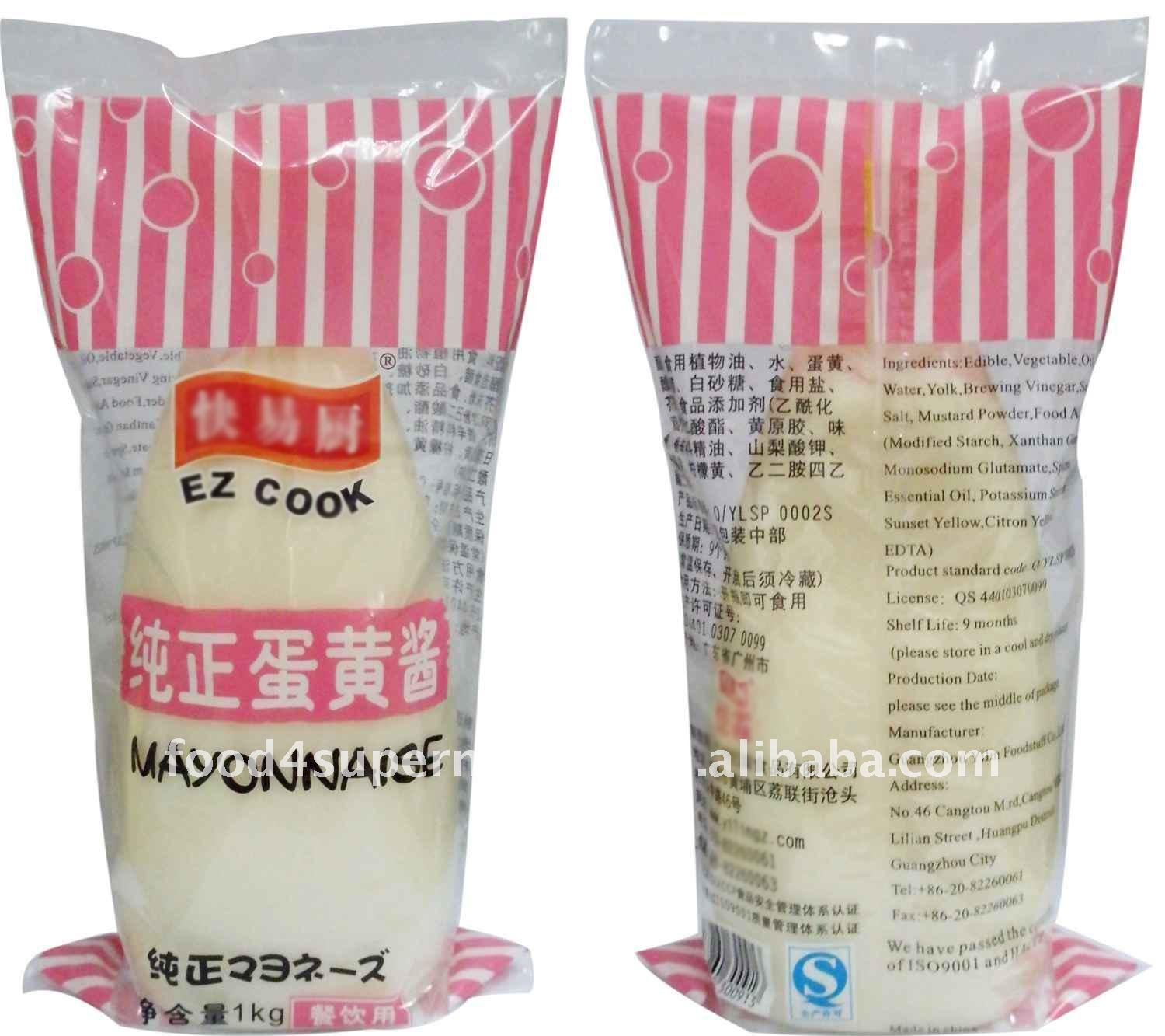 Mayonnaise with egg packed in PET bottles