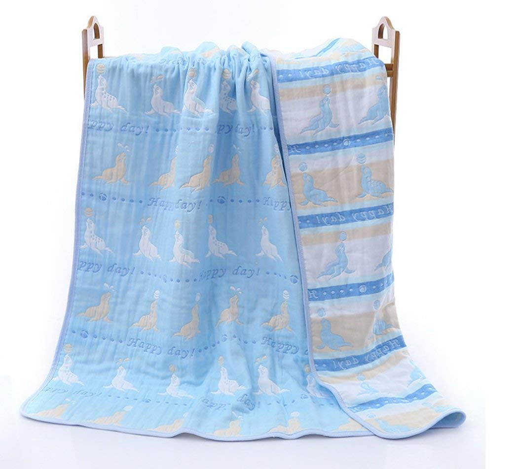 Summer Duvet 120150cm Kids Light Cool Summer Quilt 100% Cotton Children Summer Blanket Mat (Color pink, light blue, dark blue) (Color : Light blue, Size : 120150)