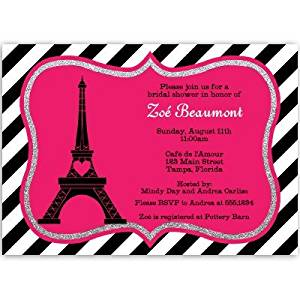 Buy paris bridal shower invitations with eiffel tower hot pink paris bridal shower invitations with eiffel tower hot pink french vintage chic tea filmwisefo