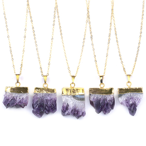 Natural Gold Plating Slice Healing Stone Purple Crystal Quartz Fashion Jewelry Pendant Necklace Druzy Amethyst Necklace Women