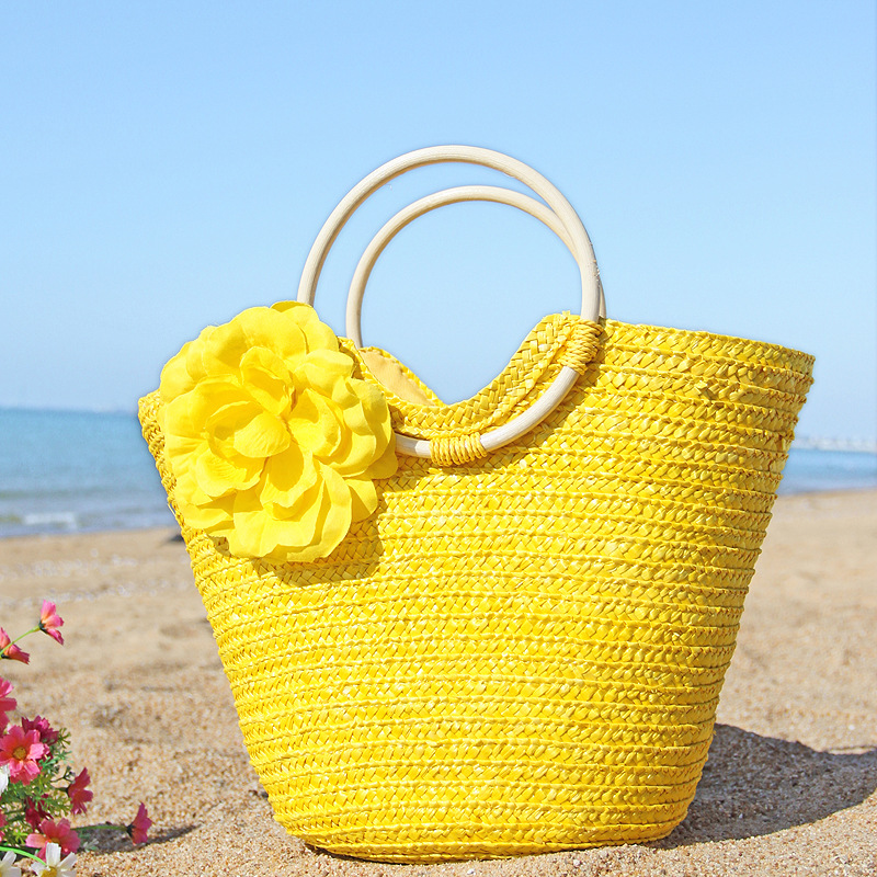 Women's Bags 2018 Bohemian Hand Woven Rattan Tote Bag Beach Bag Straw Totes Bucket Summer Bags Beautiful Flower Women Kintted Handbag Braided Skilful Manufacture