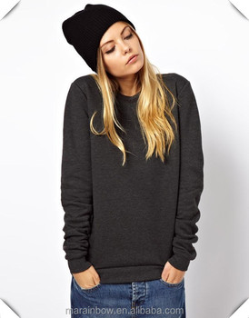 Black 100% Cotton Plain Sweatshirts Cheap Wholesale Womens Hoodies and  Sweatshirts Loose Fit Crewneck Jumpers e59d3cabd1