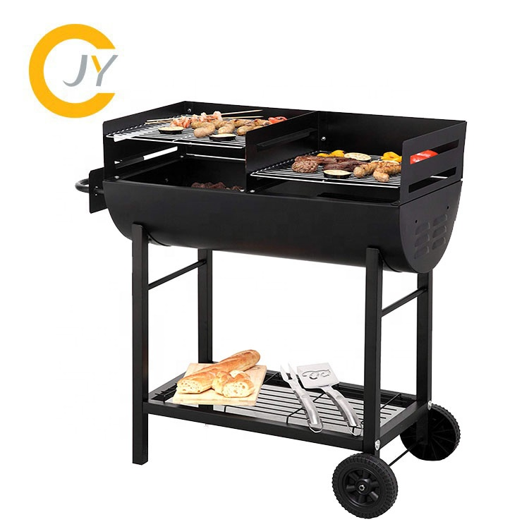 Indoor outdoor garden Senza Fumo del Carbone di Legna barbecue grill con fumatore stack trolley Barbecue