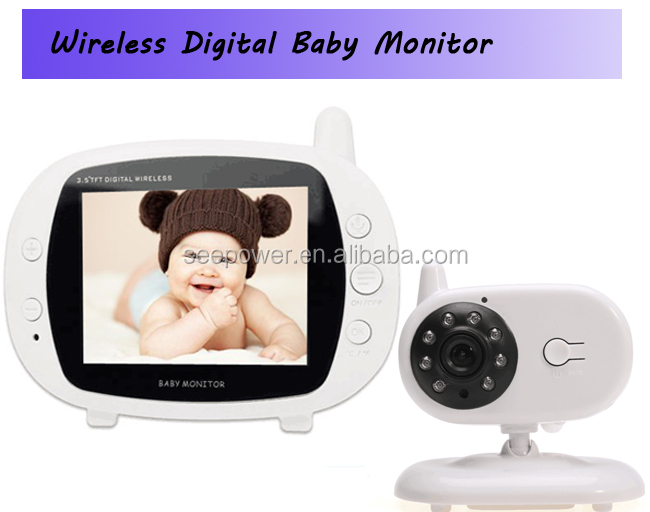 Portable Digital Video Baby Monitor - 2.4 Ghz Night vision Two-Way Audio/Video Camera with 3.5-Inch LCD