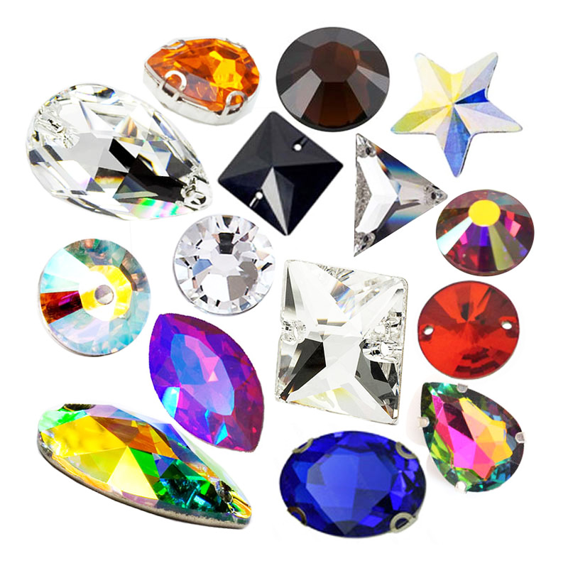 wholesale point back and flat back shaped sewing resin gemstone acrylic strass stone sew on glass diamond crystal rhinestones