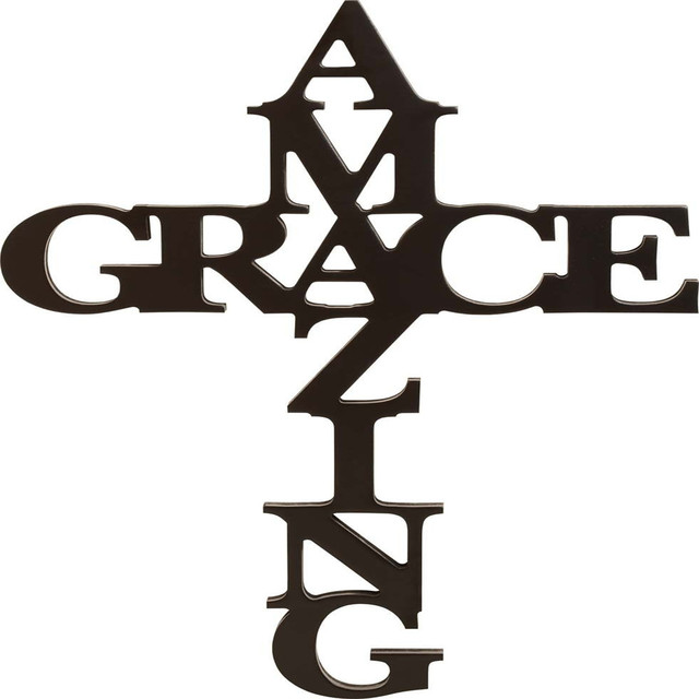 Amazing Grace crosses in Black 30 x 12 Wood Cutout Wall Word