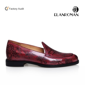 New Style Mens Nice Embossing Italian Leather Blake Sewing Dress Loafers  Shoes Soft Sole Men