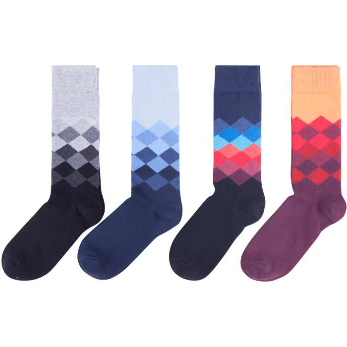 10 Pack Colorful Rhombus Ankle Socks Casual Cozy Crew Socks For Men