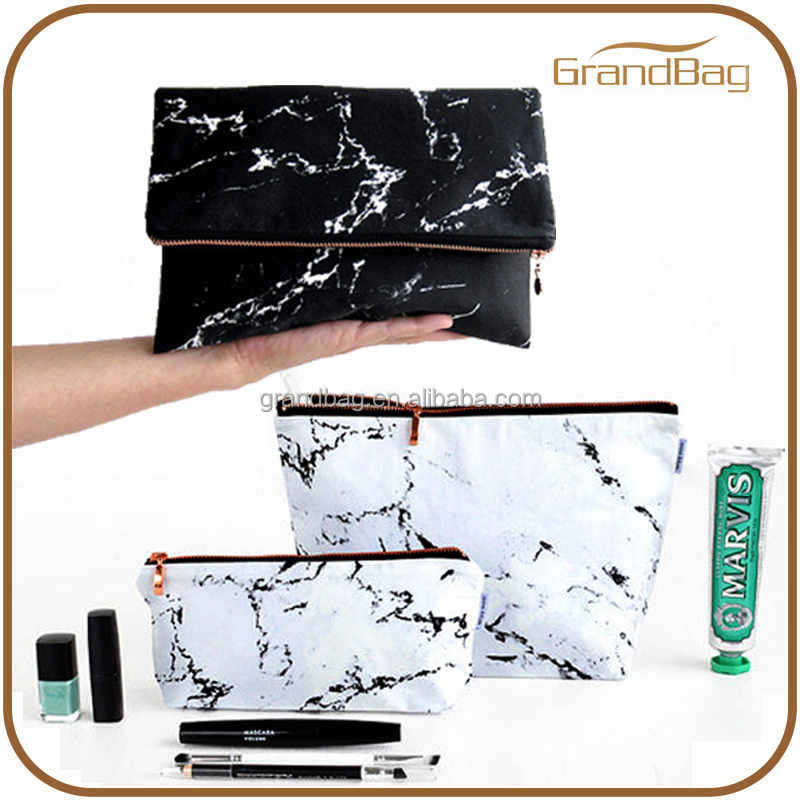 2016 new fashion marble cosmetic bags wash bag marble printed pattern stone leather pouch make-up toiletry bag large dopp kit