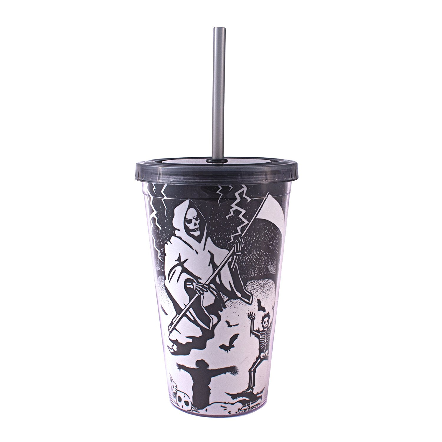 Silver Buffalo, LLC NO15087D Silver Buffalo Halloween Grim Reaper Glow in the Dark Plastic Cold Cup with Lid and Straw, 16 oz, Multicolored