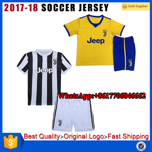 Top thai quality customize cheap 2017 2018 Juventus soccer jersey shirt for kids children youth kinder