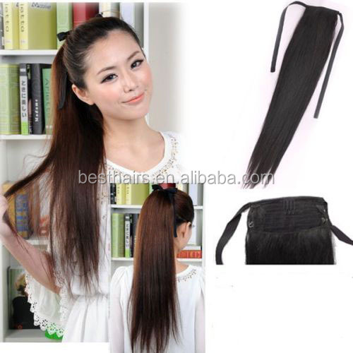 "7A Top quality 100% human hair clip in hair extension 16""-28"" 100g claw ponytail clip human hair extension black brown blonde"