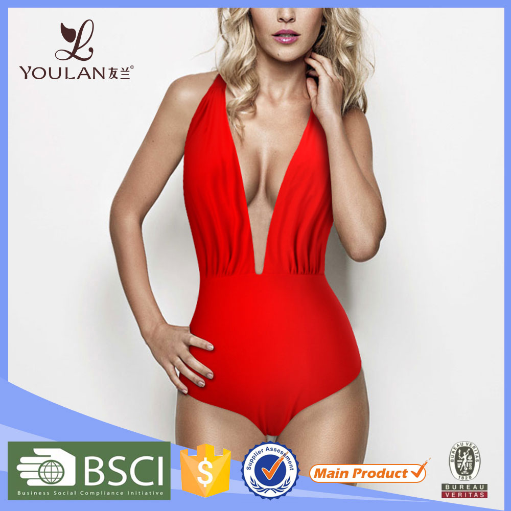 Hot Sales Latest Stylish One Piece Mature Red Private Label Swimwear Manufacturer