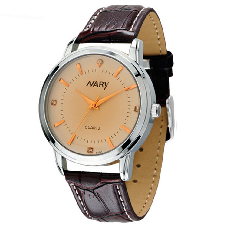5f7f985354d Get Quotations · 2015 Orologi Uomo NARY Simple Fashion Quartz Watches  Elegant Design Leather Band Watch Retro Wristwatch Clock