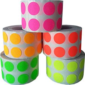"""1/2"""" Color Coding Dot Stickers Fluorescent Collection 1,000 of Each FL Pink FL Yellow FL Green FL Orange FL Red 5,000 Total Labels"""