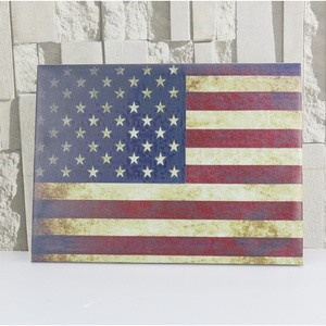 2017 new design wall hanging canvas paiting wholesale USA flag wooden frame decor frame
