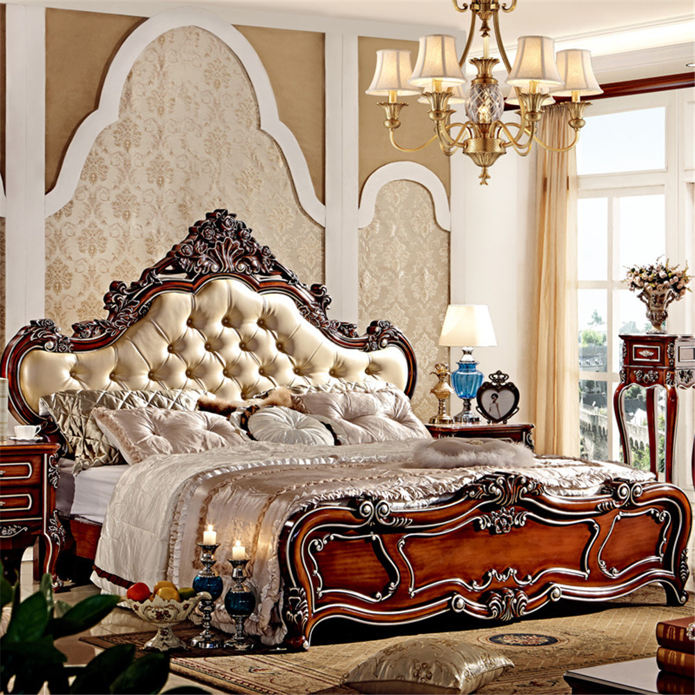 European Style Luxury King Size Wooden Bedroom Furniture