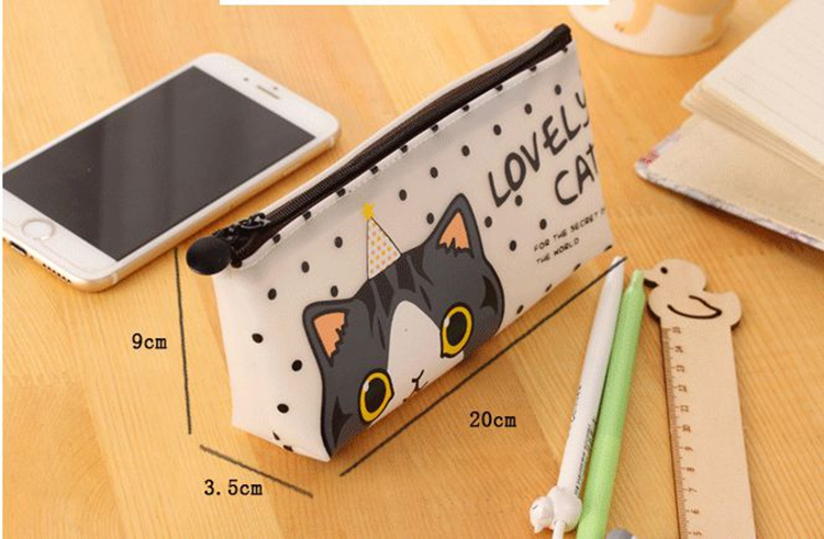 Cat Pencil Case Leather School Supplies Stationery Gift School Cute Pencil Box Pencilcase  Pencil Bag School Tools Kawaii
