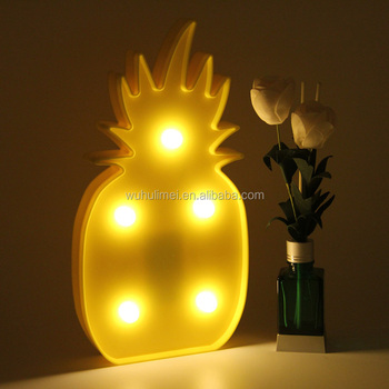 Battery Powered Led Tropical Pineapple Plastic Marquee Lights For ...