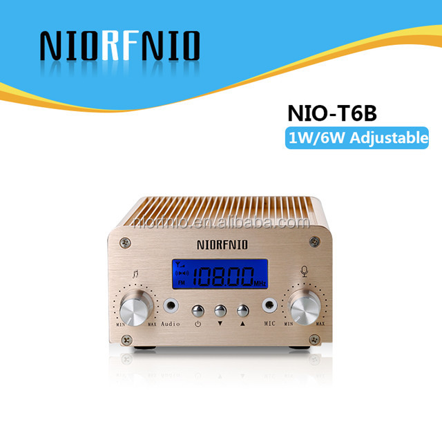 T6B 1W/6W Switchable Output Power FM Radio Station Broadcasting Equipment with PC Control and Bluetooth