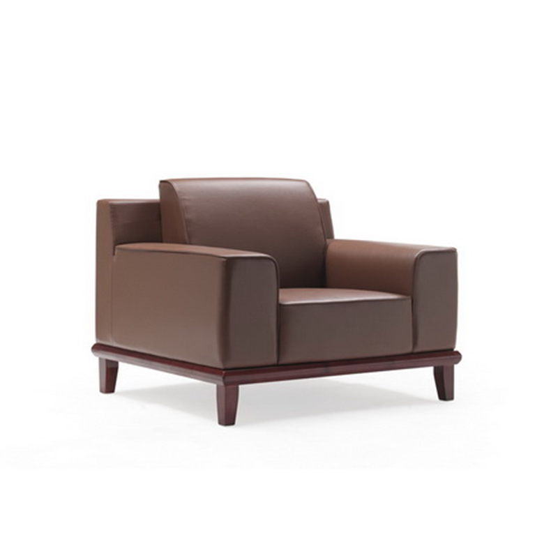 Single Set Brown Leather Office Reception Sofa with Wooden Legs