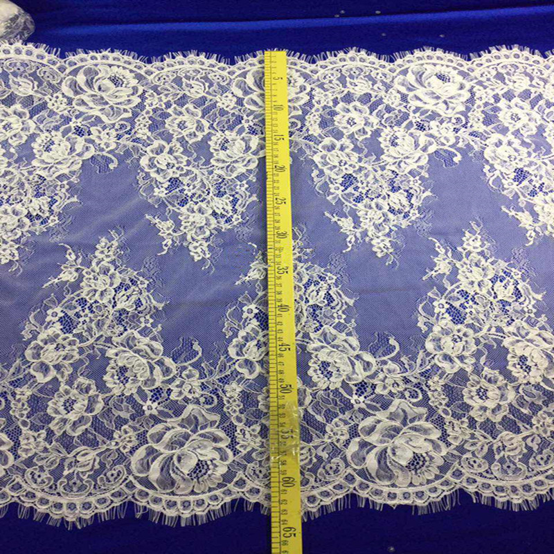 Eyelash wide raschel french cord lace trim for decoration