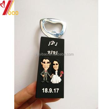 custom logo beer bottle opener with fridge magnet for wedding gifts