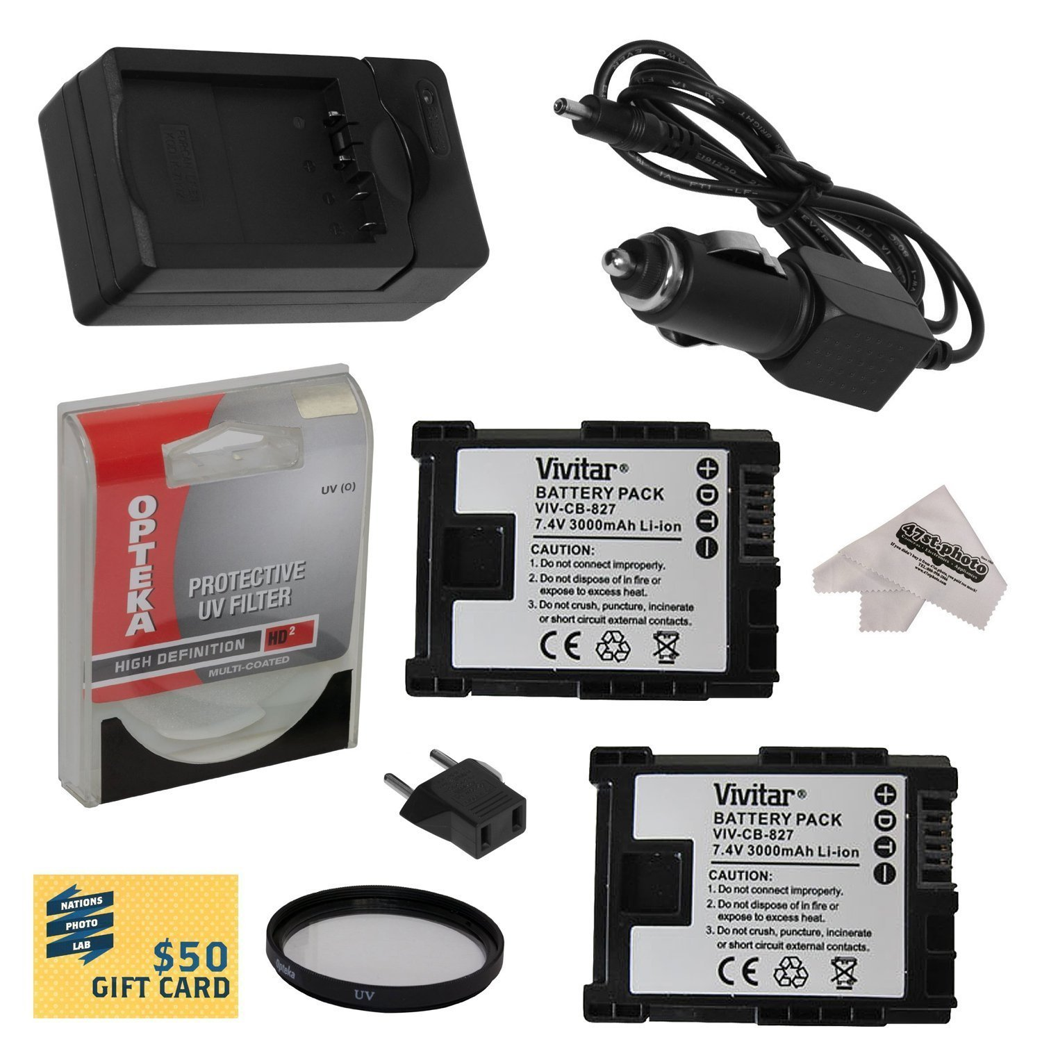 2 Canon BP-827 BP827 Lithium Ion Replacement Battery Packs 3000MAH Each 6000MAH in Total + Rapid AC/DC Battery Charger For The Canon HF M40 M41 M400 HFM40 HFM41 HFM400 Video Camera Camcorder Includes Bonus 43MM High Definition UV Protective Filter + 47stphoto Microfiber Cleaning Cloth Photo Print