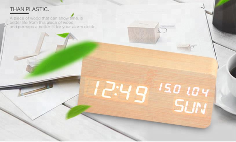 novelty acoustic control sensing led wood clock luminous lazy square wood clock led digital wood electronic alarm Clock