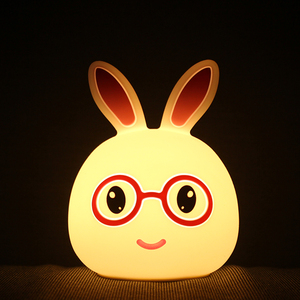 AAA battery operated BPA free Silicone LED Rabbit Night Light Lamp for Kids