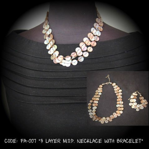 "2012 Fashion Accessories ""3 Layer MOP Necklace with Bracelet"""