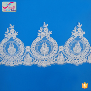 XT0133 Wholesale Fancy Charming ivory French Sequins Corded Lace Trim tulle sequin fashion fabric lace trimming
