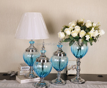 luxury blue glass home decoration items wholesale accessories with silver light vase candle holder bowl with decoration items for home