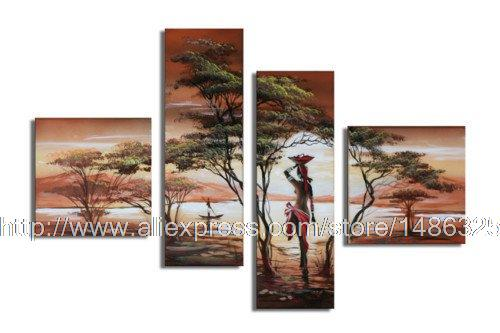 Free Shipping Tree Dancing Girl Friends Abstract oil painting Sunrise Fortune Tree 4 Pcs Set Wall Art In Africa Style Landscape