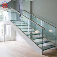 u channel frameless tempered railing glass