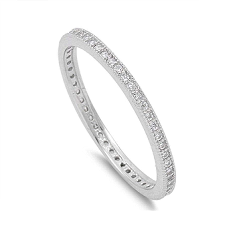CloseoutWarehouse Round Center Micro Pave Clear Cubic Zirconia Ring Rhodium Plated Sterling Silver