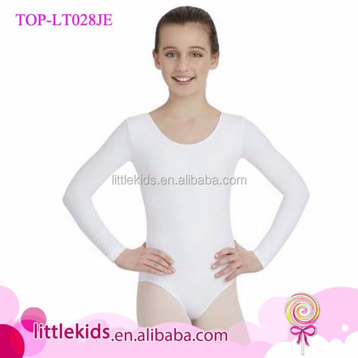 NEW GIRLS SOFT BASIC NYLON LONG SLEEVE BALLET DANCE BODYSUIT LEOTARD TOP M L XL
