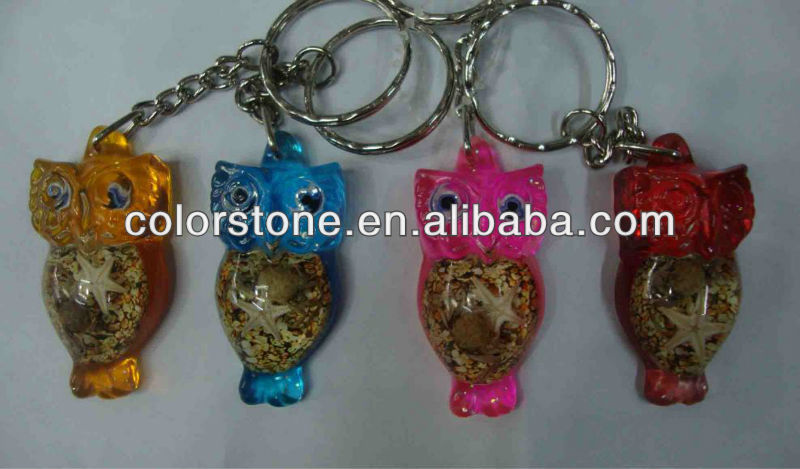 Owl amber key chain,Promotional key chain with insect shell,amber keychain pendant